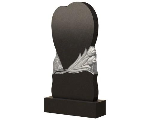 Гранитный памятник на могилу Сердце и Тюльпаны