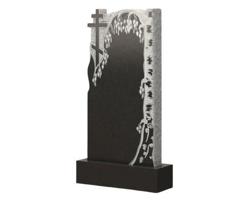Гранитный памятник с березой и крестом на могилу