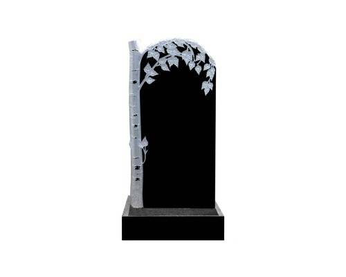 Гранитный памятник с резной березой слева
