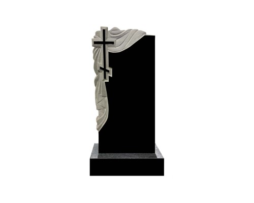 Гранитный памятник на могилу с Крестом и драпировкой