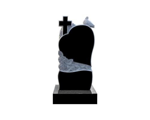 Гранитный резной памятник с Сердцем, Розами, Голубем и  Крестом