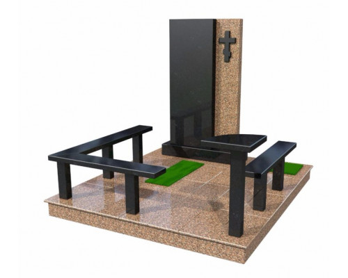 Мемориальный комплекс из гранита с крестом - 3D модель