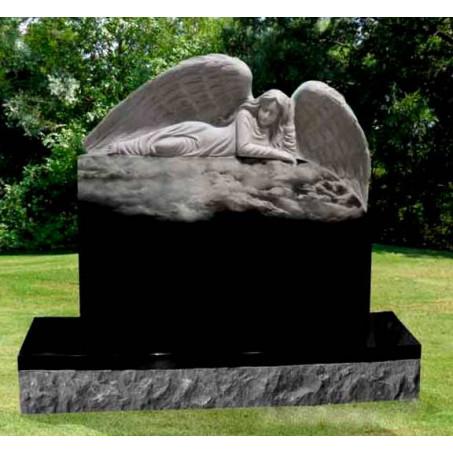 Элитный гранитный памятник с лежащим Ангелом