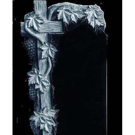 Резной гранитный памятник Крест с виноградной лозой