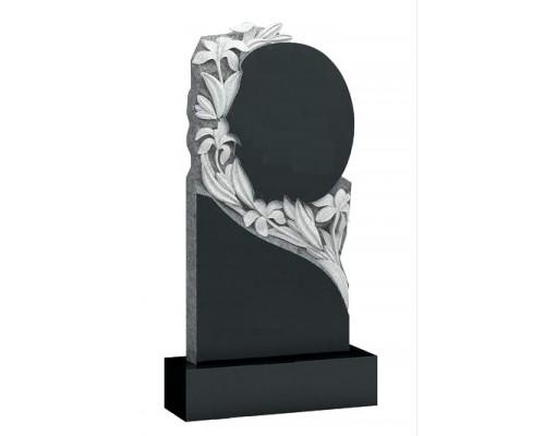 Памятник Круглый портрет с лилиями sp01545