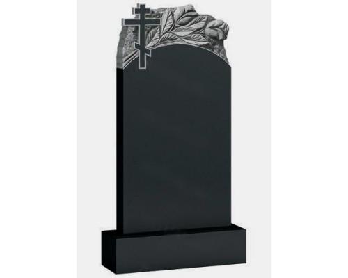 Вертикальный памятник с крестом и тюльпанами sp01551