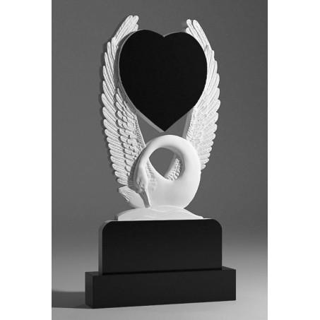 Памятник из гранита Лебедь с Сердцем