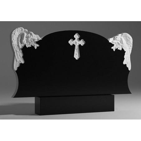 Двойной гранитный памятник c Ангелами и Крестом