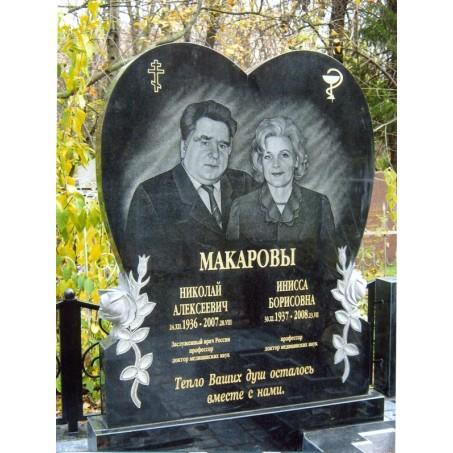 Семейный памятник Сердце для двоих, из гранита
