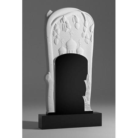 Надгробный резной православный памятник с березкой и церковью
