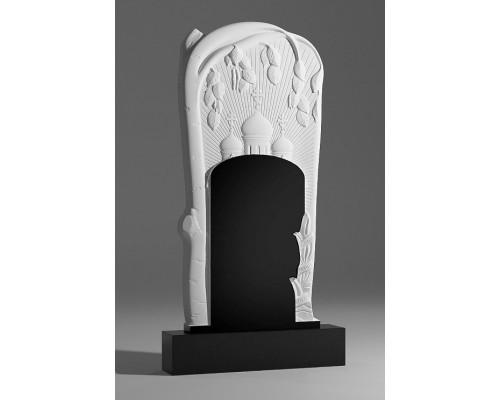 Резной памятник с березкой и церковью sp01373