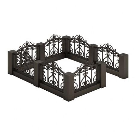 Ограда на кладбище из гранита с кованой вставкой