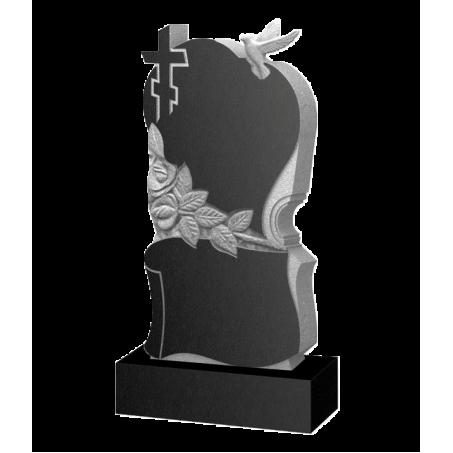 Фигурный памятник на могилу с голубем, розами и крестом