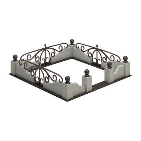 Оградка на могилу из гранитного поребрика с кованой вставкой