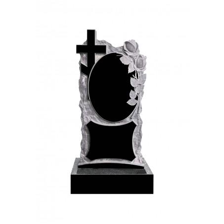Гранитный резной памятник Розы, Зеркало и Крест