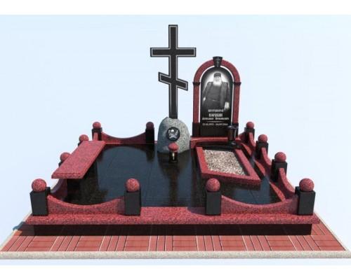 Православный мемориальный комплекс с Крестом из двух цветов гранита - 3D модель