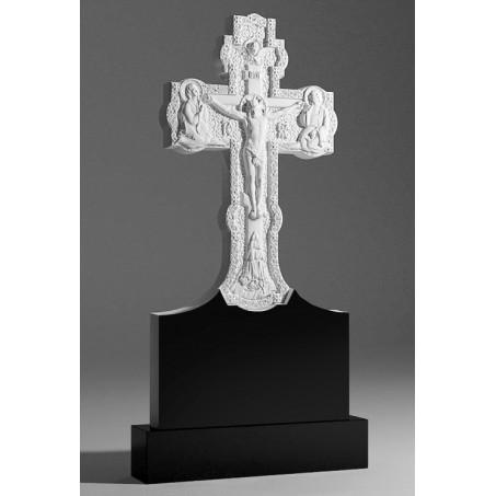 Гранитный памятник резной Крест на кладбище