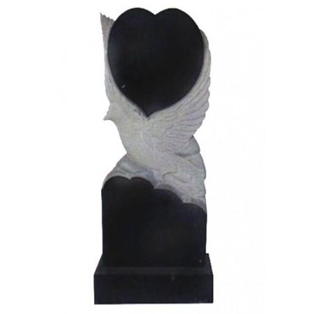 <b>Вертикальный гранитный памятник с голубем и сердцем</b>