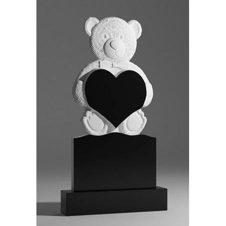 Детский фигурный резной памятник с мишкой и сердцем
