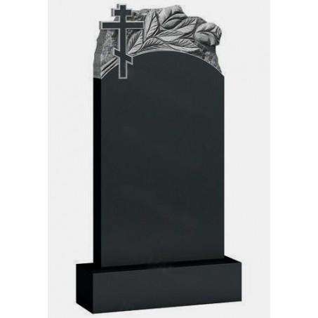 Гранитный вертикальный памятник с тюльпанами и крестом на могилу