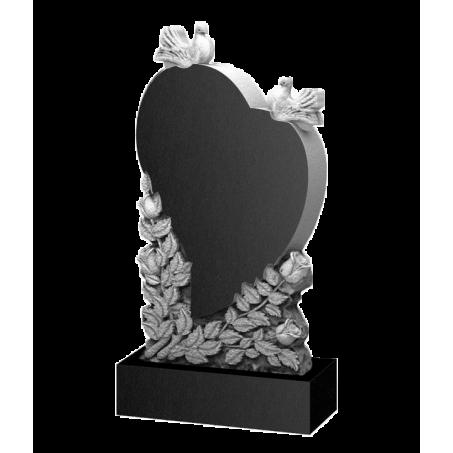 Фигурный памятник на могилу с голубями и сердцем