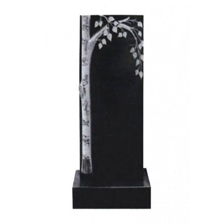<b>Вертикальный гранитный памятник с березкой</b>