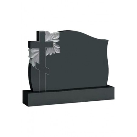 Горизонтальный памятник с Крестом и цветами №08