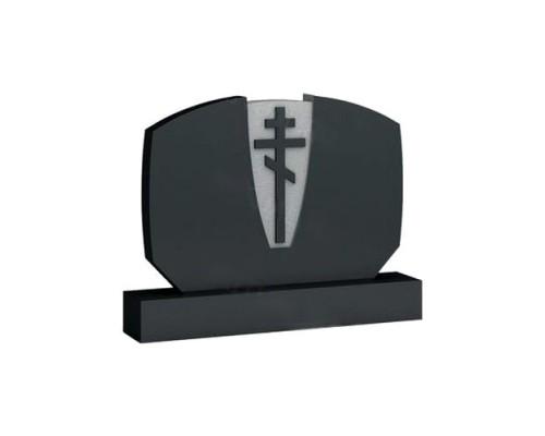 Горизонтальный памятник с крестом №03