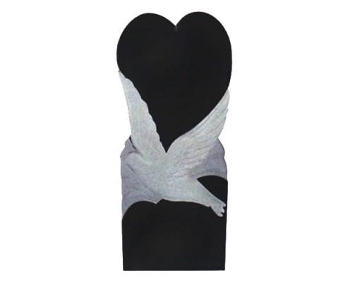 Памятник вертикальный с голубем и сердцем sp01412