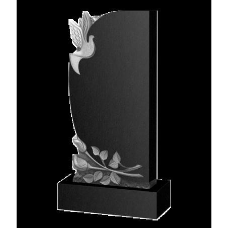 Фигурный полукруглый памятник на могилу с голубем и розами