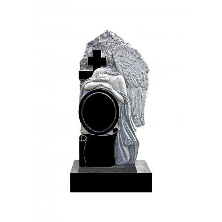 Памятник из гранита Ангел с Крестом и зеркалом