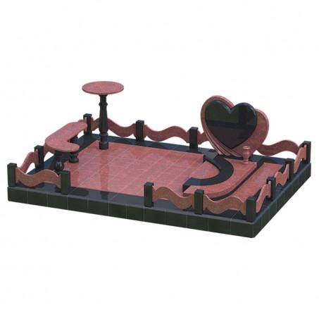 Одинарный памятник на могилу с сердцем - 3D модель