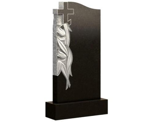 Вертикальный памятник с тюльпанами и крестом