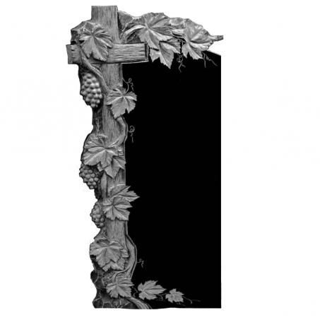 Резной гранитный памятник с Крестом и виноградной лозой