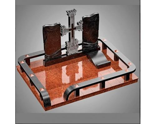 Семейный мемориальный комплекс с Крестом из двух цветов гранита - 3D модель