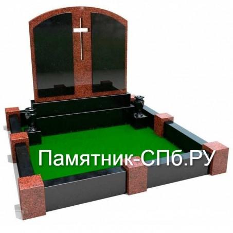 Мемориальный комплекс на могилу из красного и черного гранита